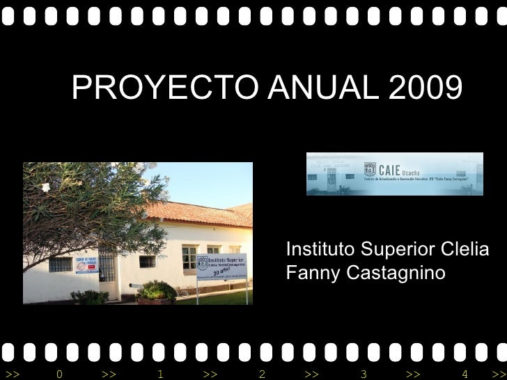 PROYECTO ANUAL 2009 Instituto Superior Clelia Fanny Castagnino