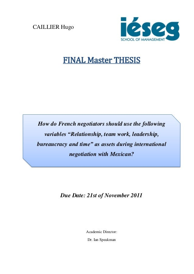 CAILLIER Hugo Master Thesis. International Negotiation