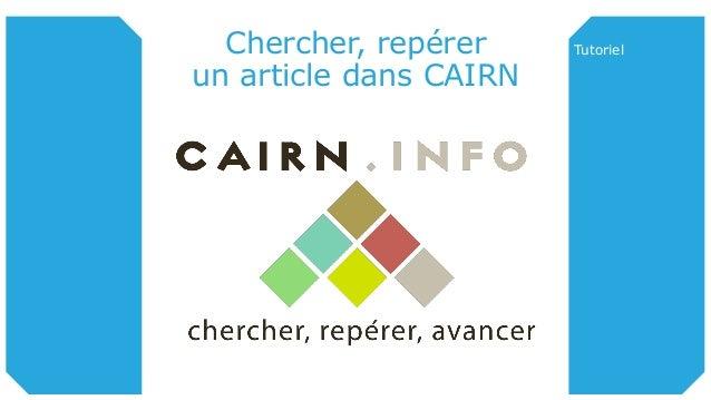 Chercher, repérer un article dans CAIRN Tutoriel