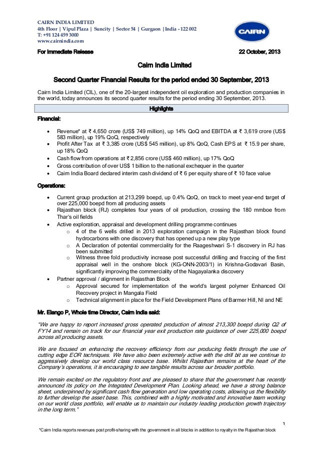 Cairn India | Q2 Results | FY 2013-14