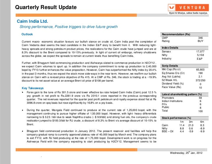 Quarterly Result UpdateCairn India Ltd. Strong performance, Positive triggers to drive future growth  Outlook             ...