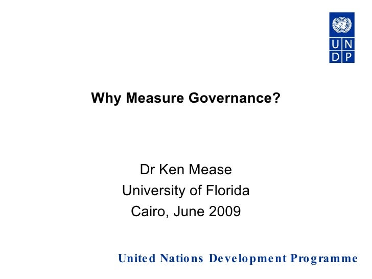 Why measure governance