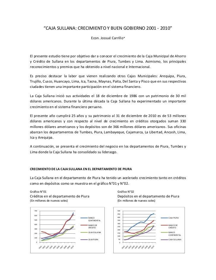"""""""CAJA SULLANA: CRECIMIENTO Y BUEN GOBIERNO 2001 - 2010""""                                       Econ. Jossué Carrillo*El pre..."""