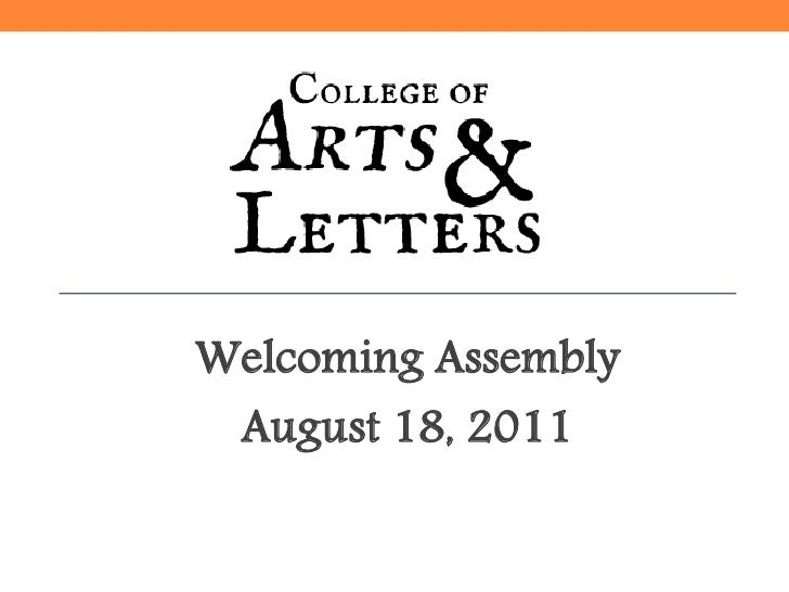 Arts and Letters Welcoming Assembly