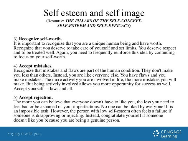 self esteem and self image essay 76 be able to promote individuals wellbeing 61 explain the links between identify self image and self esteem the concept of self is usually described in terms of self image the person we think we are and self esteem or self worth which is concerned with the worth we attach to that self image.