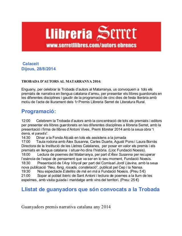 Calaceit dijous 28 d'agost any vinyoli 2014 trobada premis literaris al matarranya