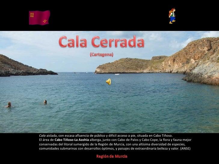 Álbum de fotografías por apala Cala  aislada, con escasa afluencia de público y difícil acceso a pie, situada en Cabo Tiño...