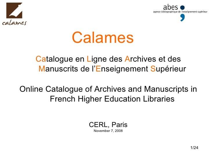 Calames :: CERL seminar (Paris, 2008)