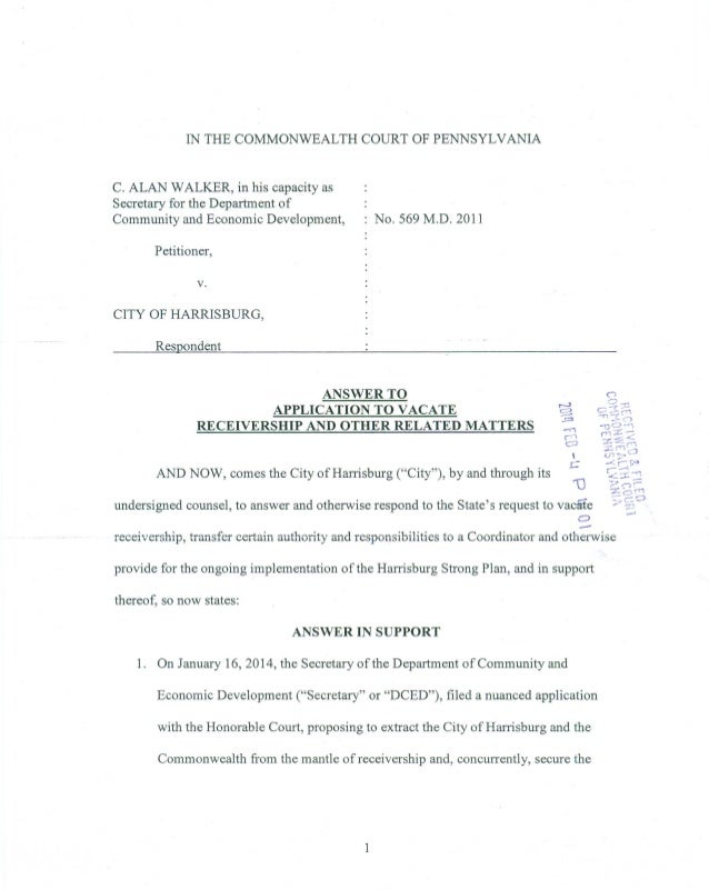 City of Harrisburg's Answer to Request by Receiver to Vacate