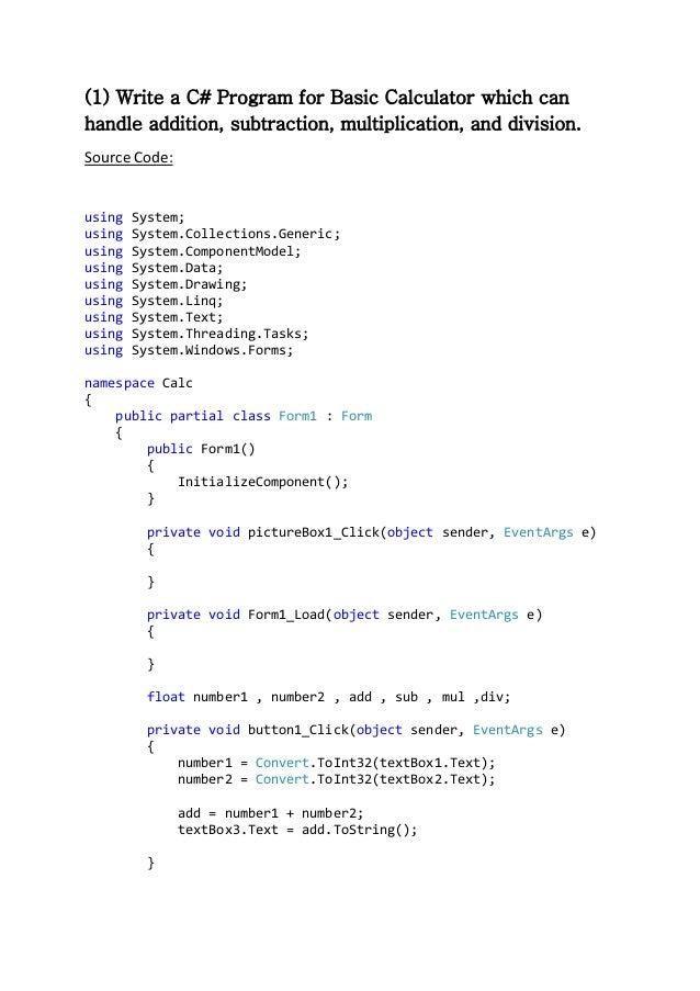 Calculator Program in C#.NET