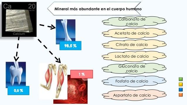 Gluconato de calcio Mineral más abundante en el cuerpo humano Carbonato de calcio Acetato de calcio Citrato de calcio Lact...