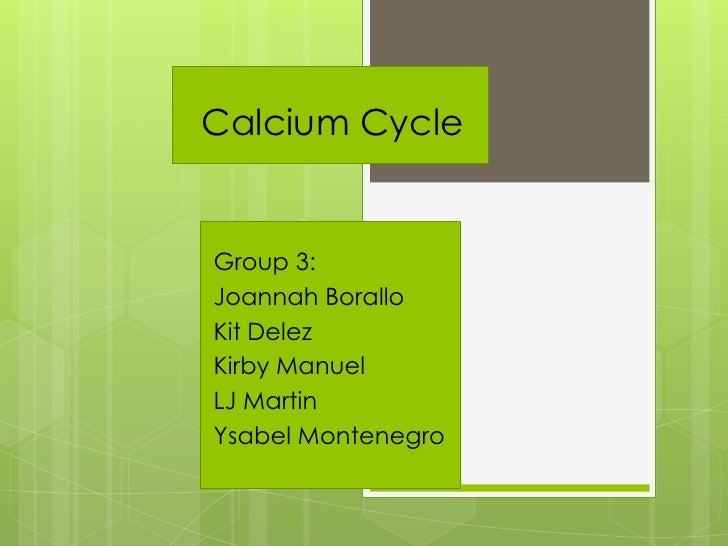 Calcium Cycle   Group 3: Joannah Borallo Kit Delez Kirby Manuel LJ Martin Ysabel Montenegro