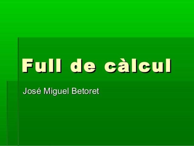 Teoria Fulls de càlcul