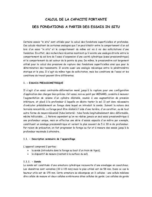 """CALCUL DE LA CAPACITE PORTANTE DES FONDATIONS A PARTIR DES ESSAIS IN SITU Certains essais """"in situ"""" sont utilisés pour le ..."""