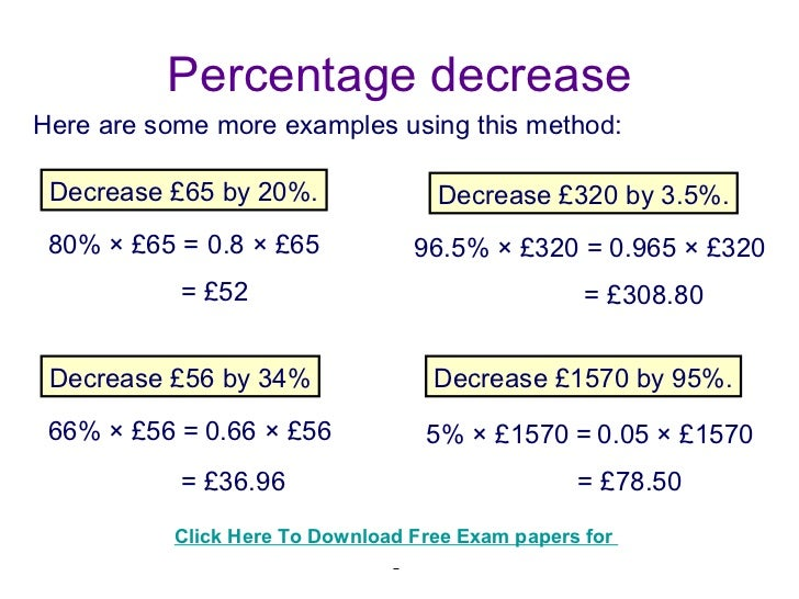 Math Worksheets Percent Increase And Decrease - Percentage Word ...