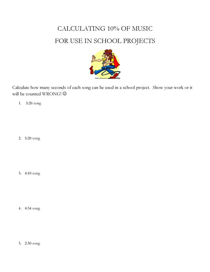 Applying Fair Use to Copyrighted Music - Student Worksheet
