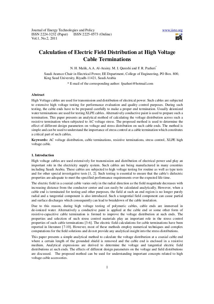 Calculation of electric field distribution at high voltage cable terminations