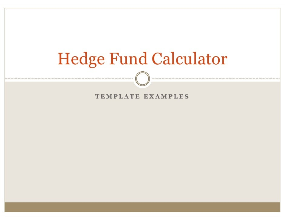 Hedge Fund Calculator      TEMPLATE EXAMPLES