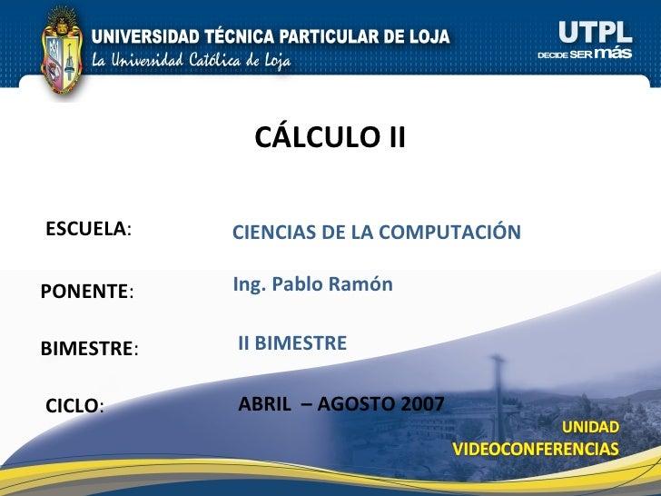 Cálculo II (II Bimestre)