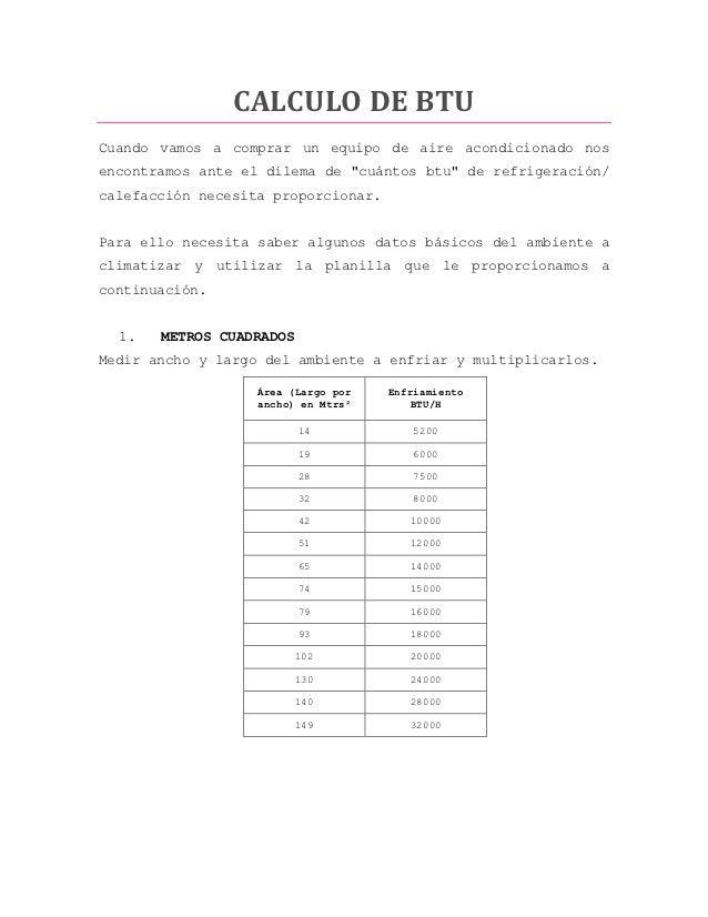 Calculo de btu for Cuanto gasta un aire acondicionado