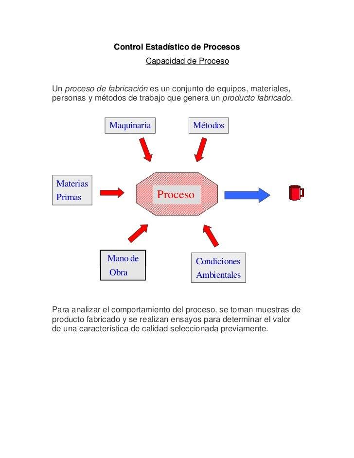 Control Estadístico de Procesos                        Capacidad de ProcesoUn proceso de fabricación es un conjunto de equ...