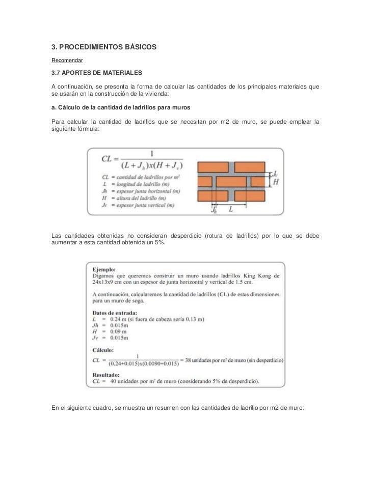 3. PROCEDIMIENTOS BÁSICOSRecomendar3.7 APORTES DE MATERIALESA continuación, se presenta la forma de calcular las cantidade...