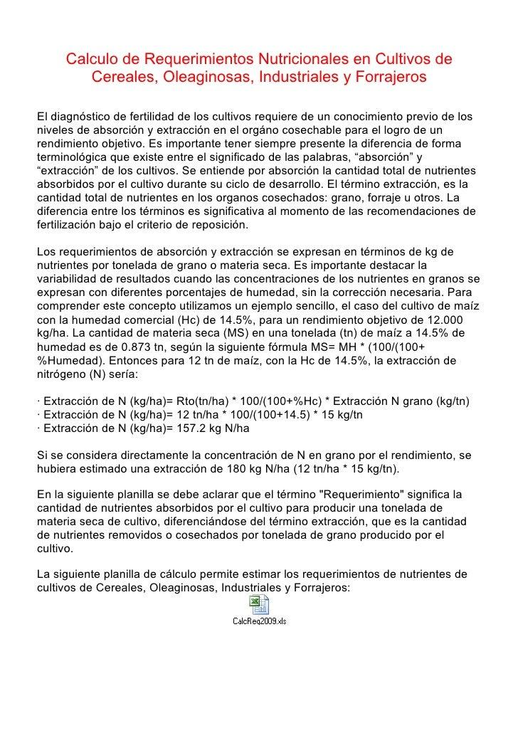 Calculo de Requerimientos Nutricionales en Cultivos de         Cereales, Oleaginosas, Industriales y Forrajeros  El diagnó...