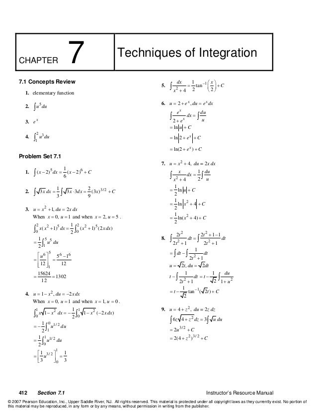 412 Section 7.1 Instructor's Resource Manual CHAPTER 7 Techniques of Integration 7.1 Concepts Review 1. elementary functio...