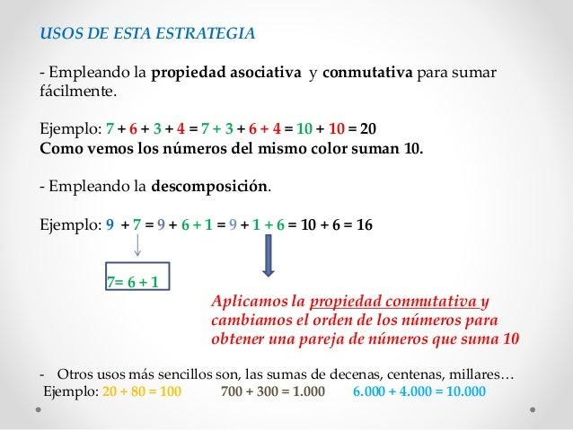 USOS DE ESTA ESTRATEGIA - Empleando la propiedad asociativa y conmutativa para sumar fácilmente. Ejemplo: 7 + 6 + 3 + 4 = ...