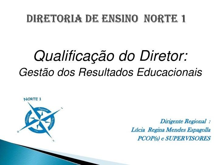 DIRETORIA DE ENSINO  NORTE 1<br />Qualificação do Diretor:<br />Gestão dos Resultados Educacionais<br />Dirigente Regional...