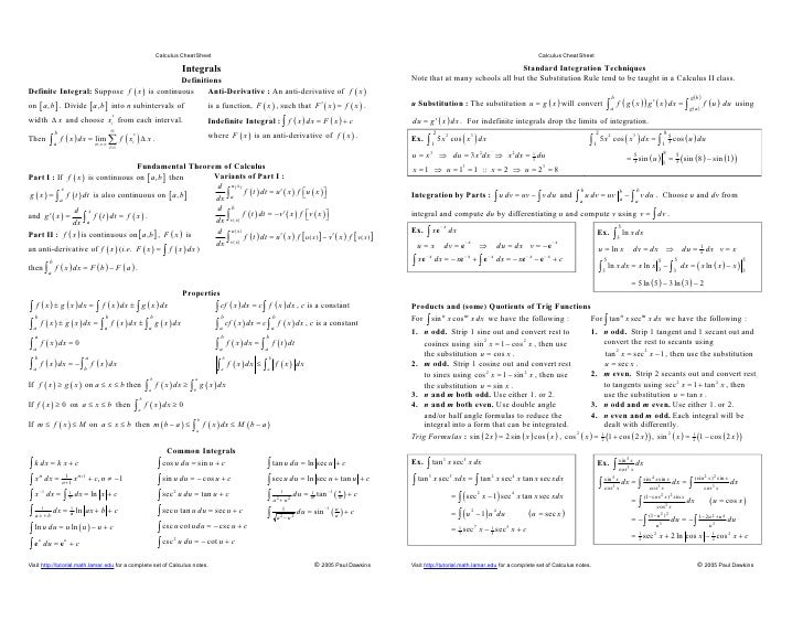 Vector calculus cheat sheet