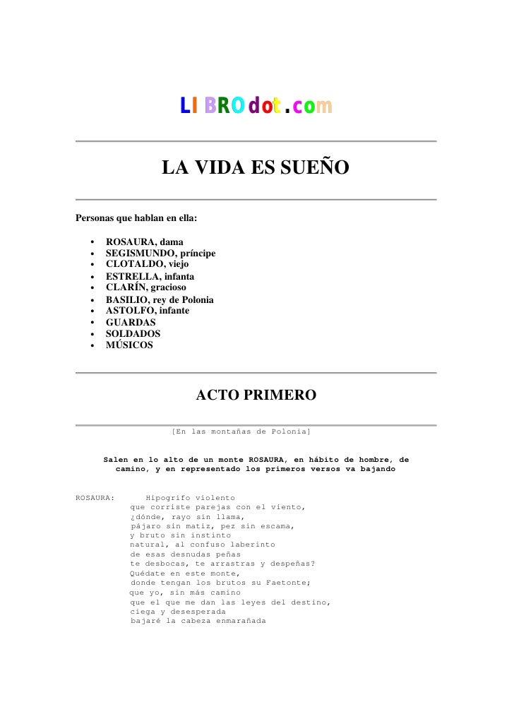 CalderóN De La Barca, Pedro   La Vida Es Sueno