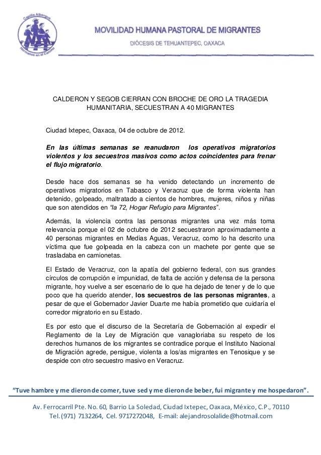 CALDERON Y SEGOB CIERRAN CON BROCHE DE ORO LA TRAGEDIA                     HUMANITARIA, SECUESTRAN A 40 MIGRANTES         ...