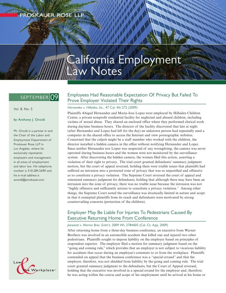 California Employment                                  Law Notes                                  Employees Had Reasonable...