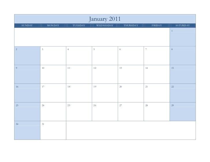 January 2011SundayMondayTuesdayWednesdayThursdayFridaySaturday12345678910111213141516171819202122232425262728293031<br />F...
