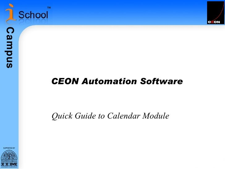 CEON Automation Software Quick Guide to Calendar Module