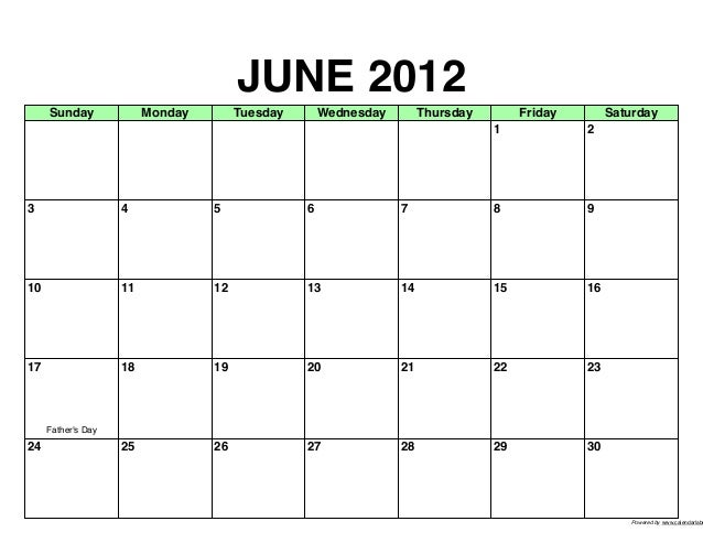JUNE 2012     Sunday              Monday        Tuesday       Wednesday        Thursday        Friday        Saturday     ...
