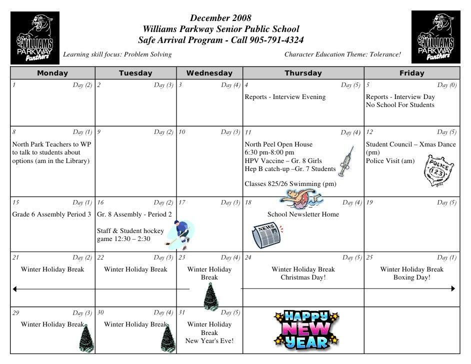 December 2008                                              Williams Parkway Senior Public School                          ...