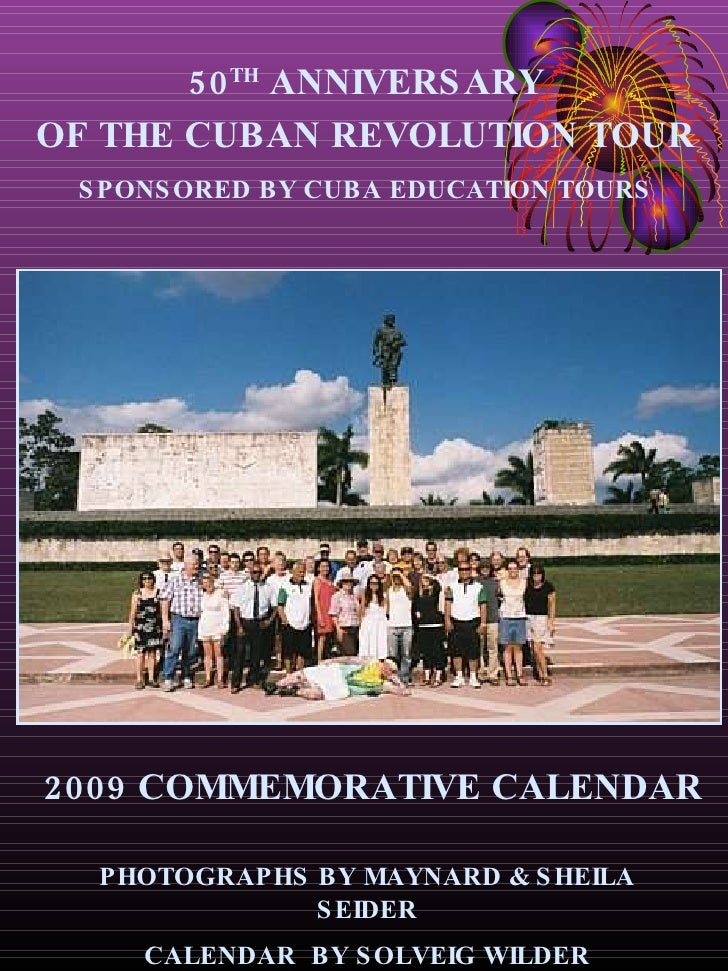 Calendar Final Seider 50th Anniversary Of The Cuban Revolution