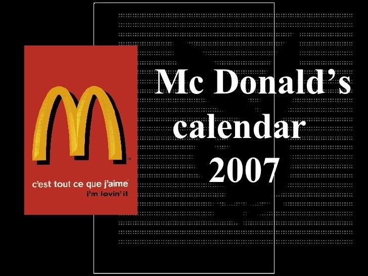 Mc Donald's calendar 2007