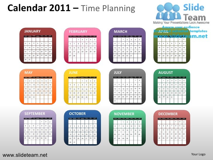 Calendar 2011 time planning powerpoint presentation templates.