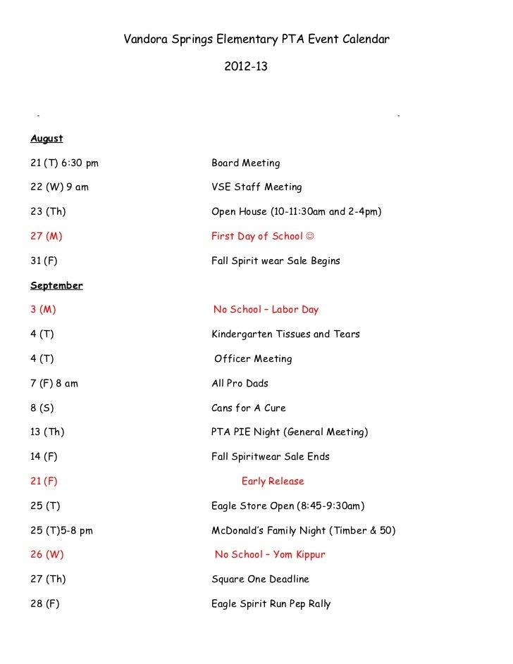 PTA Calendar 2012-2013