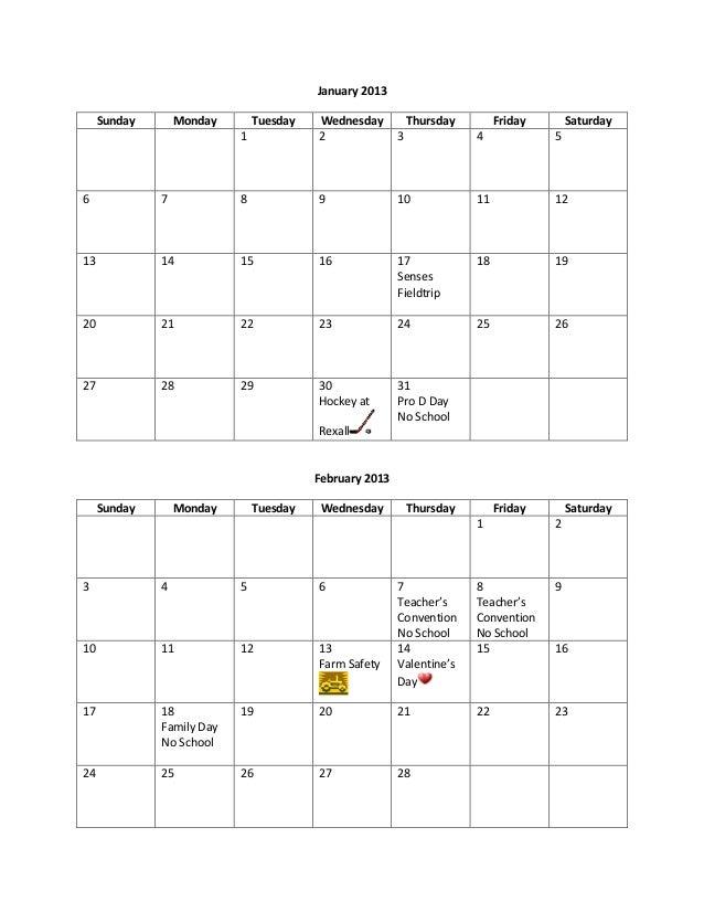 January 2013     Sunday       Monday       Tuesday   Wednesday           Thursday        Friday       Saturday            ...