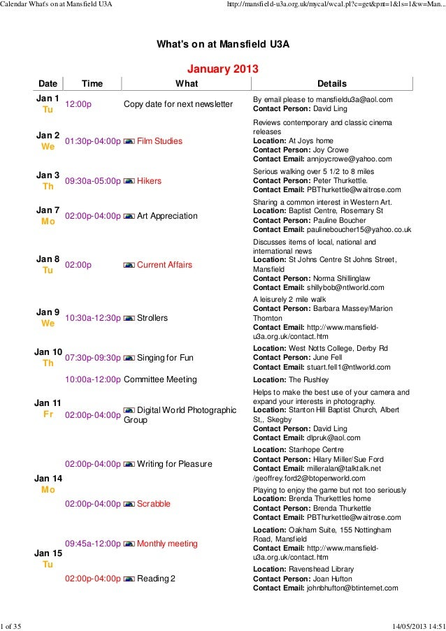 Whats on at Mansfield U3AJanuary 2013Date Time What DetailsJan 1Tu12:00p Copy date for next newsletterBy email please to m...