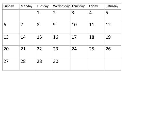 Calendar Self Made : Calendar days self made april