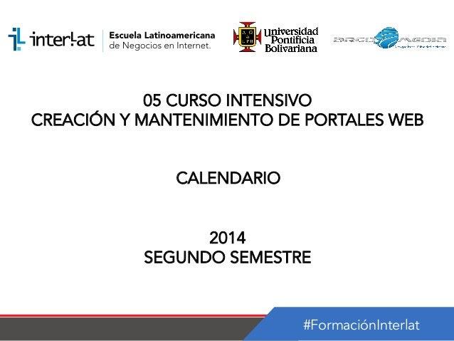 Calendario_05 Curso Intensivo Creación y Mantenimiento de Portales Web Nicaragua-semestre 2_2014