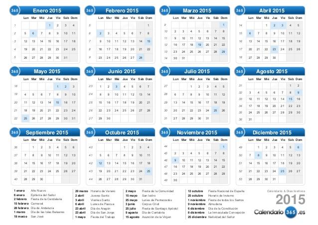 Calendario juliano 2015 - Imagui