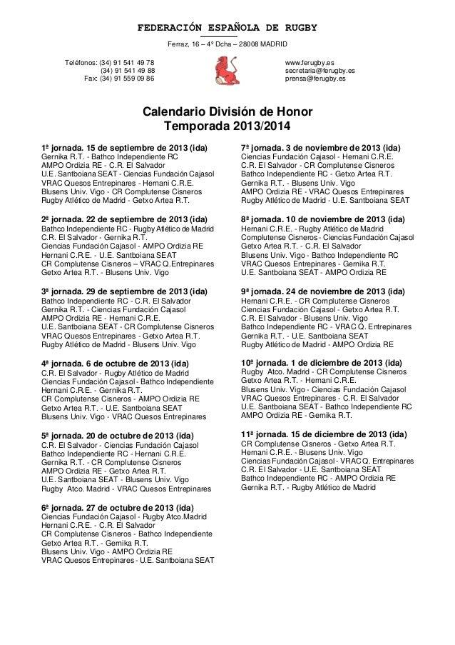 Calendario DH 2013-2014