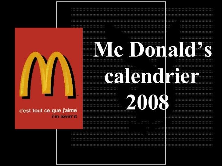 Mc Donald's calendrier 200 8