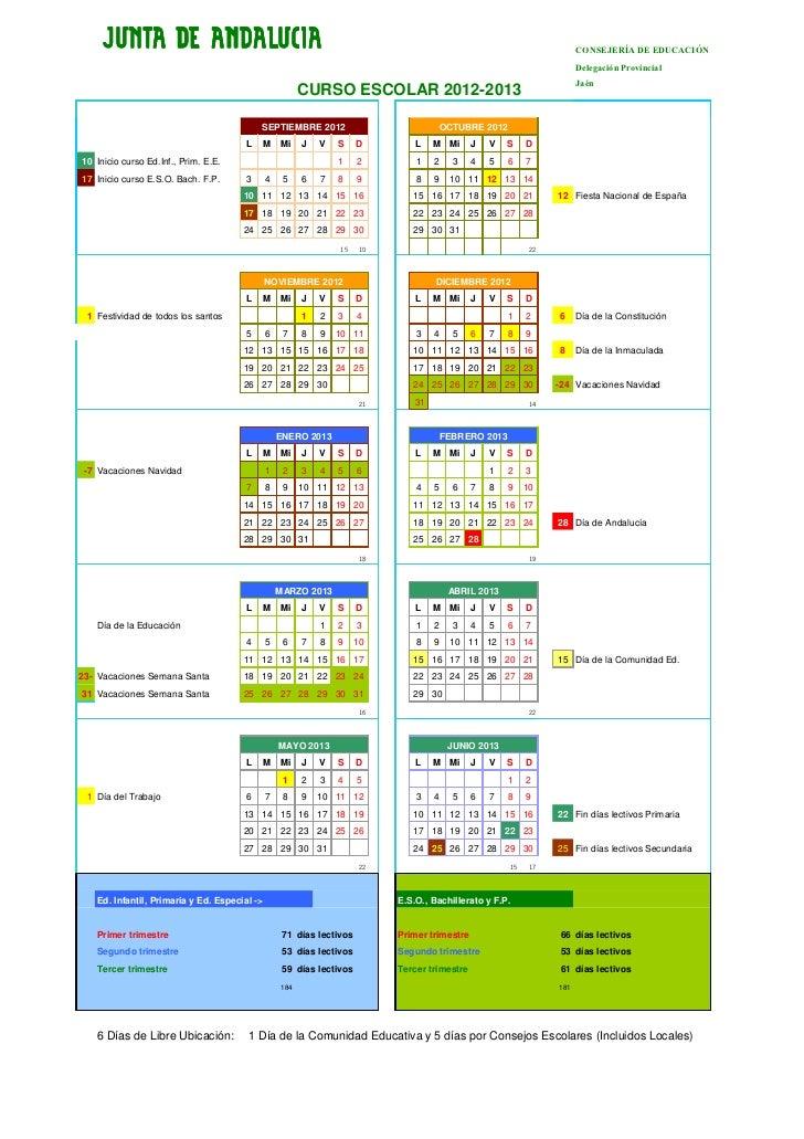 Calendario del curso escolar 2012/13 de la provincia de Jaén